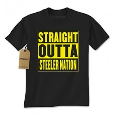 Mens Straight Outta STEELER Nation T-Shirt XX-Large Black