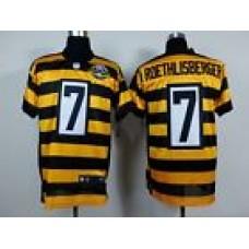 Men's Pittsburgh Steelers 7# Ben Roethlisberger Black/Gold Elite Jersey Siz