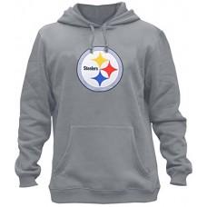 Clor Mens Pittsburgh Steelers Super Athletic Pullover Hoodie - Grey M