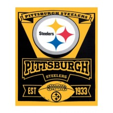 NFL Pittsburgh Steelers Marque Printed Fleece Throw, Black, 50 x 60