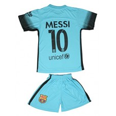 2015/2016 BARCELONA TURQUOISE BLUE MESSI #10 KIDS SOCCER JERSEY & SHORT (XL