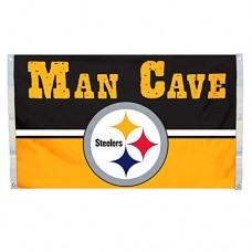 NFL Pittsburgh Steelers Man Cave Flag with 4 Grommets, 3 x 5-Feet